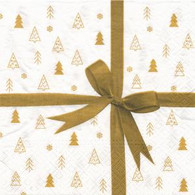 "Lunch Napkins - Gold Bow 6.5"" x 6.5"""