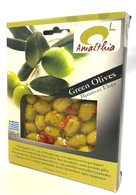 Amalthia Greek green olives with herbs 200 gr., 16/cs