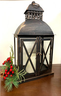 "Vintage-black metal and glass lantern 10""x6""x16""H"