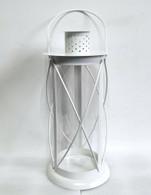 "White iron and glass lantern 7""Dx15""H"