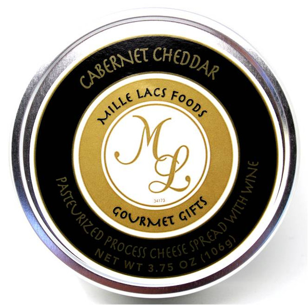Mille Lacs shelf stable Cabernet Cheddar cheese in a tin 106 gr.,