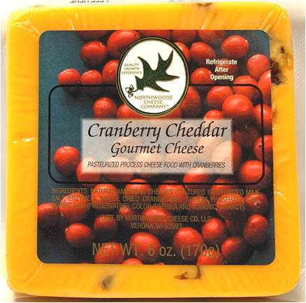 Northwood Cheese shelf-stable Cranberry Cheddar Gourmet Cheese 170 gr.,
