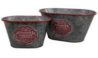 "Set of 2 oval ""Celebrate the season"" metal containers S: 9""x5.75""x5""H, L: 12""x7""x5.5""H"