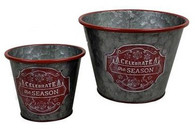 "Set of 2 Round ""Celebrate the season"" metal containers S: 5.2""Dx4""H, L: 7.2""Dx5""H"