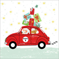 "Lunch napkin - Santa's Car 6.5""x6.5"""