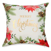 "Poinsettia cushion - Merry Christmas 17""x17"""