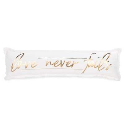 """Extra long """"Love Never Fails"""" cushion 36""""x10"""""""