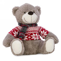 """Teddy bear door stopper with red shirt 9""""x8""""x10.5""""H"""