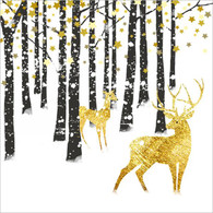 "Lunch napkins - Black Trees & gold deer 6.5""x6.5"""