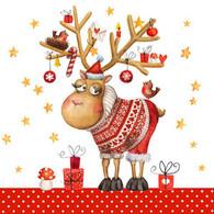 "Lunch napkin - Funny Reindeer 6.5""x6.5"""