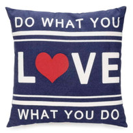 "Blue Do What You Love cushion 15""X15"""