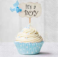 "Lunch napkins - It's a Boy blue cupcake 6.5""x6.5"""