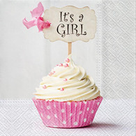 "Lunch napkins - It's a Girl pink cupcake 6.5""x6.5"""