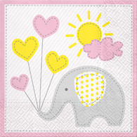 "Lunch napkins - elephant with pink trim 6.5""x6.5"""