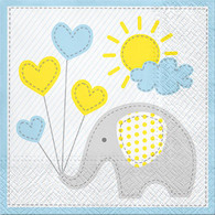 "Lunch napkins - elephant with blue trim 6.5""x6.5"""