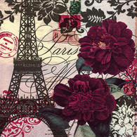 "Lunch napkin - PARIS tower & flowers 6.5""x6.5"""