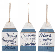 "Assorted Blue & White Tags 3.5""x6.5""H"