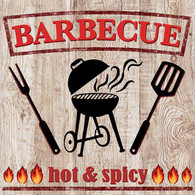 "Lunch napkins - hot & spicy BBQ 6.5""x6.5"""