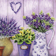 "Lunch Napkins - Lavender Pots 6.5""x6.5"""