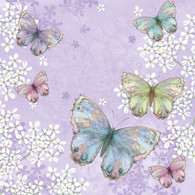 "Lunch Napkins - Butterflies on purple 6.5""x6.5"""