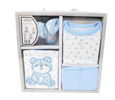 4-PC Teddy Bear Cotton Box Set Set includes: Bodysuit, Pant, Bib & Socks  100% Cotton, 0-3M