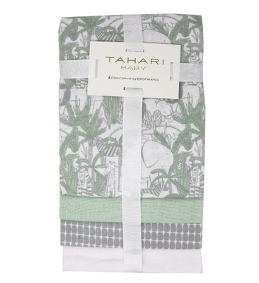 "TAHARI 4-Pack Cotton Receiving Blankets - ANIMALS 4 blankets, 100% cotton, 30""x30"""