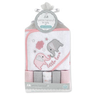 Petit L'amour Hooded Towel w/5 washcloths - PINK