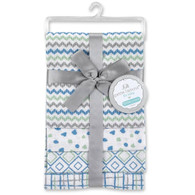 "Petit L'amour 4 Pack Cotton Receiving Blanket Blue/Grey 28""x28"", 100% Cotton"