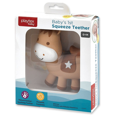 Playtex Baby's First HORSE Squeeze Teether  NATURAL RUBBER Soothing Teether