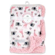 "Petit L'amour soft plush baby blanket - PINK 100% Polyester, 30""x40"", Elephant, Giraffe & Owl theme"