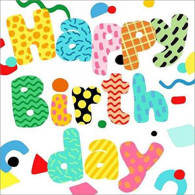 "Lunch napkins - Happy Birthday 6.5""x6.5"""