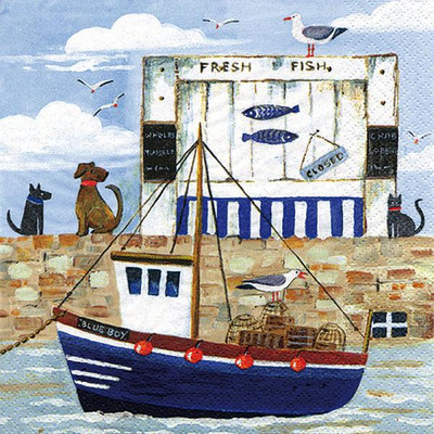 """Lunch napkins - Fishing Boat & dogs 6.5""""x6.5"""""""