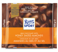 Ritter Sport milk chocolate with Honey Salted Almonds 100 gr., 11/cs