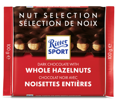 Ritter Sport dark chocolate with Whole Hazelnuts 100 gr., 10/cs