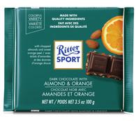 Ritter Sport Dark chocolate with Almond & Orange 100 gr., 12/cs