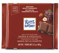 Ritter Sport milk chocolate with Raisins & Hazelnuts 100 gr., 12/cs
