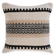 """Black & natural woven cushion 17""""x17"""""""