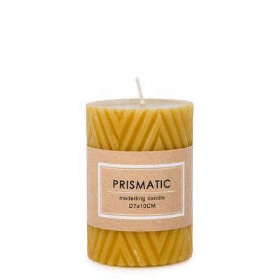 "Ridged mustard yellow 3x4"" candle"