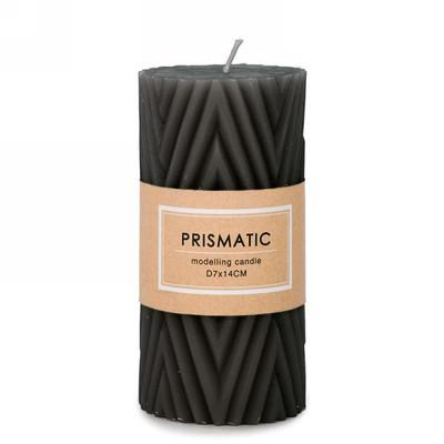 "Ridged black 3x5.5""H candle"