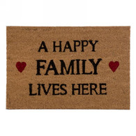 """Coir mat - A Happy Family Lives Here 24""""x16"""""""
