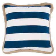 "Blue/White striped Cushion with Jute trim 17""x17"""
