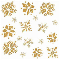 """Lunch napkins - Gold Snowflakes 6.5""""x6.5"""""""