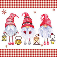 """Lunch Napkins - Gnomes with lanterns6.5""""x6.5"""""""