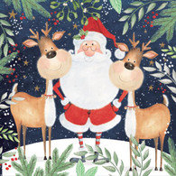 """Lunch Napkins - Santa with Reindeer 6.5"""" x 6.5"""""""