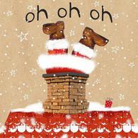 """Lunch napkins - Santa in Chimney 6.5""""x6.5"""""""