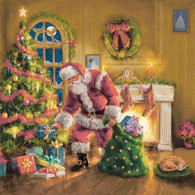 """Santa's with Presents under the Tree 6.5""""x6.5"""""""
