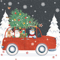 """Lunch Napkins - Red car with Tree  6.5"""" x 6.5"""""""