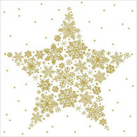 """Lunch napkins - Gold Star of Snowflakes 6.5""""x6.5"""""""
