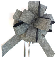 "5"" Glitter Pull Bows - 50 bows/case - Black Glitter"