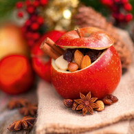 """Lunch napkin - Apple & nuts 6.5""""x6.5"""""""